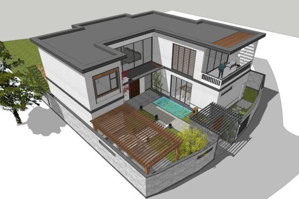 占地17x16二层带庭院自建别墅设计全套施工图