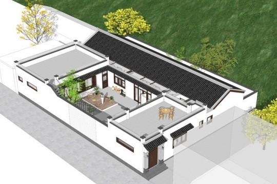 占地22x16一层自建三合院设计全套施工图