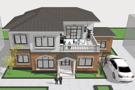 占地18x10二层带露台自建别墅设计全套施工图