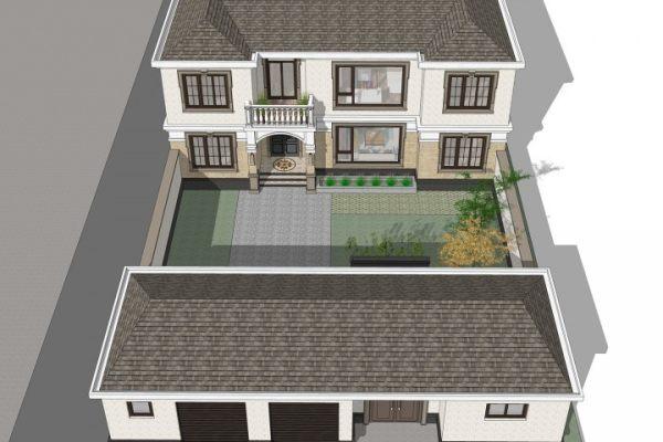 占地17x29二层带庭院车库自建别墅设计全套施工图