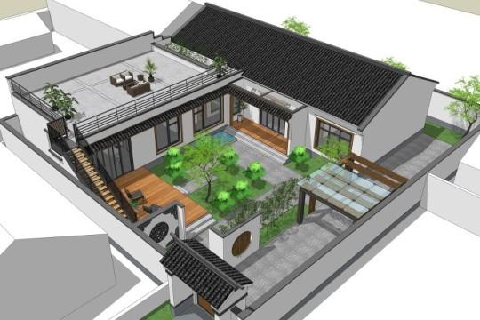 占地18x21一层带庭院自建别墅设计全套施工图