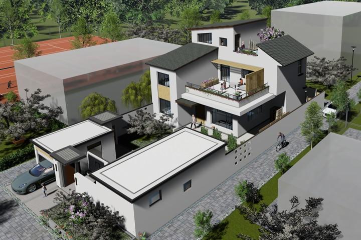 占地12x13三層帶露臺車庫自建別墅設計全套施工圖