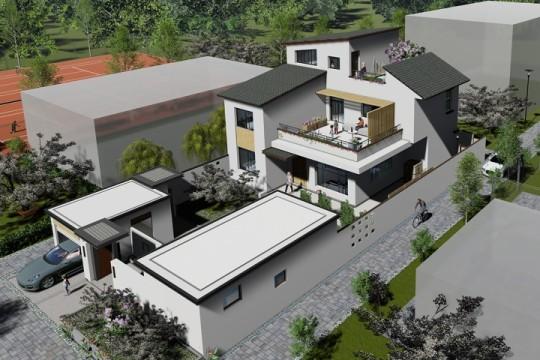 占地12x13三层带露台车库自建别墅设计全套施工图
