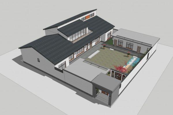 占地26x26二层带庭院自建别墅设计全套施工图