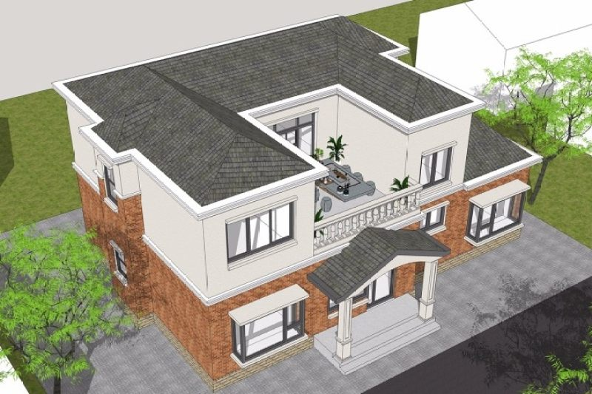 占地15x10二层带露台自建别墅设计全套施工图,造价37.1W