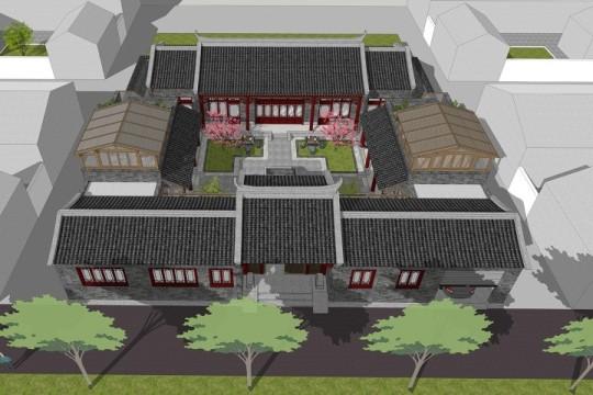 占地23x23二层自建四合院设计全套施工图