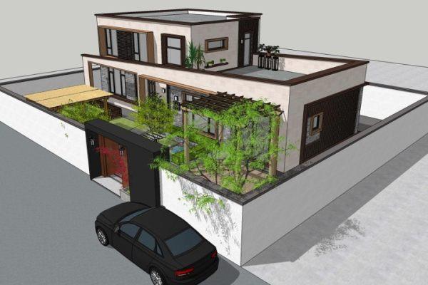 占地19x11二层带庭院露台自建别墅设计全套施工图