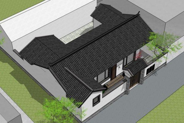 占地13x12一層帶庭院自建別墅設計全套施工圖