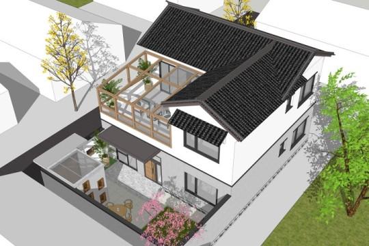 占地10x10二层带庭院露台自建别墅设计全套施工图