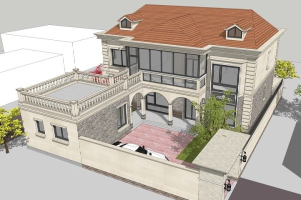 占地15x21二层带庭院露台自建别墅设计全套施工图