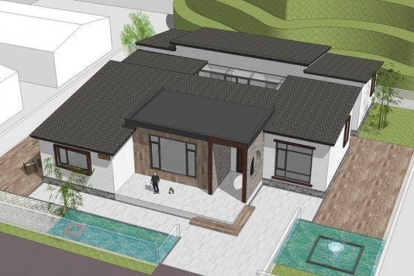 占地18x20一层带庭院自建别墅设计全套施工图
