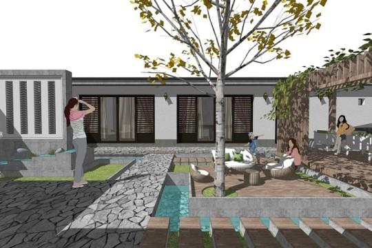 占地17x16一层带庭院自建别墅设计全套施工图