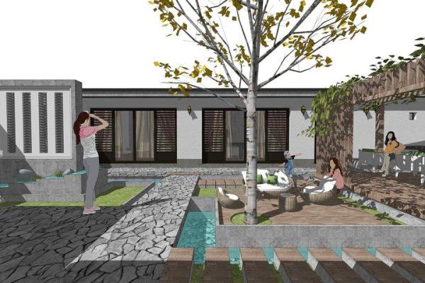 占地17x16一層帶庭院自建別墅設計全套施工圖