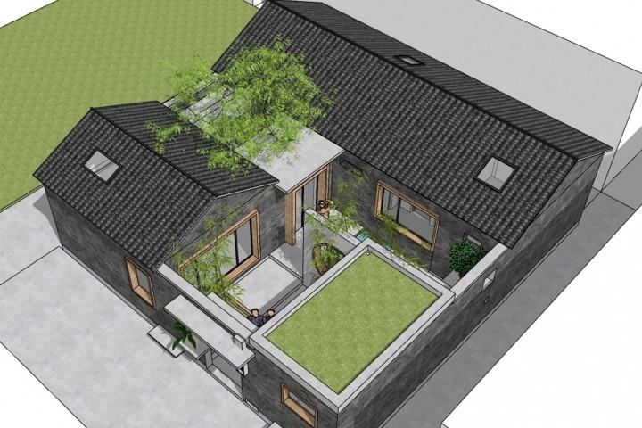 占地12x12一层带庭院自建合院设计全套施工图