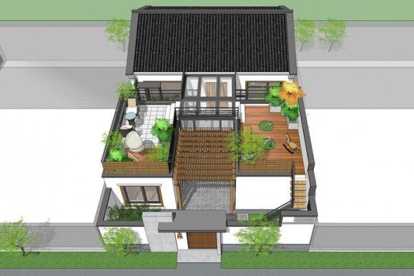占地11x19一层带露台庭院自建别墅设计全套施工图
