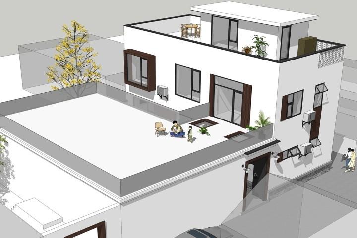 占地14x6二层带露台自建别墅设计全套施工图