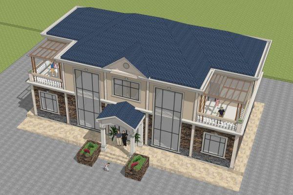 占地20x10二层带阳光房双拼自建别墅设计全套施工图