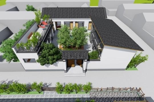 占地17x20一层带庭院自建别墅设计全套施工图