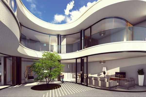 占地15x14二层带中庭弧形自建别墅设计全套施工图