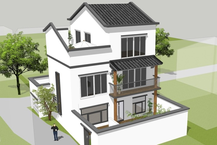 """中式三层别墅设计图"""""""