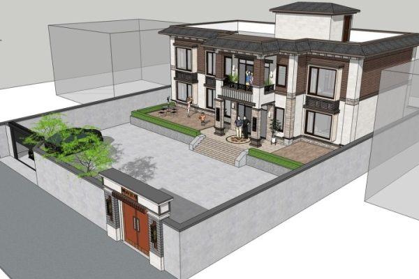 占地19x11二层带庭院自建别墅设计全套施工图