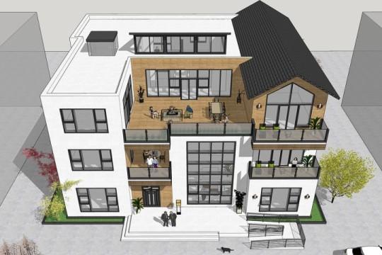 占地22x19三层带露台自建别墅设计全套施工图