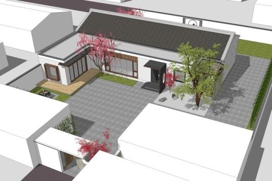占地20x14一层带庭院自建别墅设计全套施工图