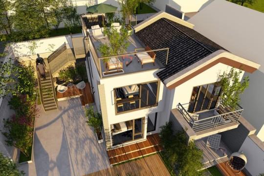 占地11x9二层带露台自建别墅设计全套施工图