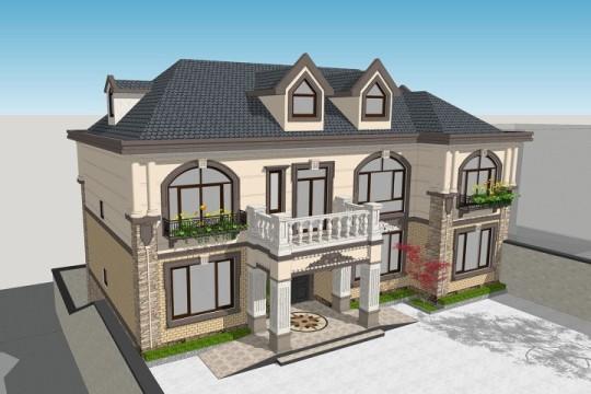 占地17x12二层带露台自建别墅设计全套施工图