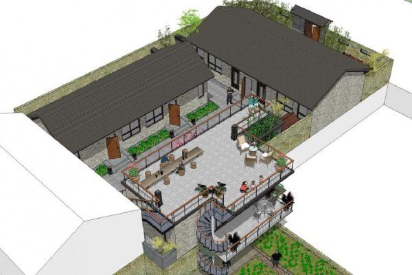 占地30x10一层带庭院自建民宿设计全套施工图