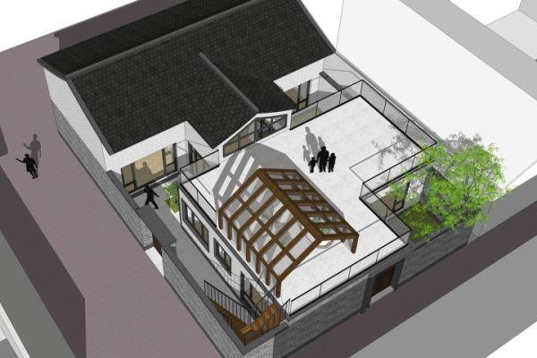 占地13x17一层带庭院露台自建别墅设计全套施工图