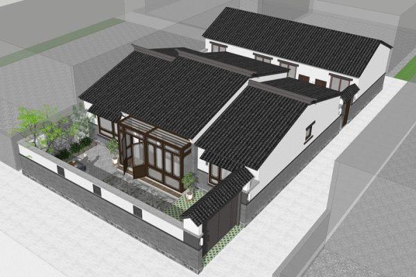 占地14x20一层带庭院自建别墅设计全套施工图