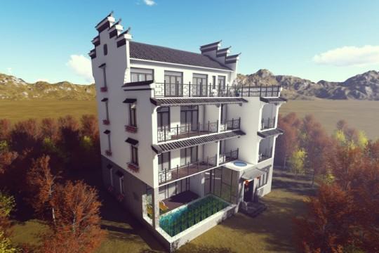 占地14x14四层带露台自建别墅设计全套施工图