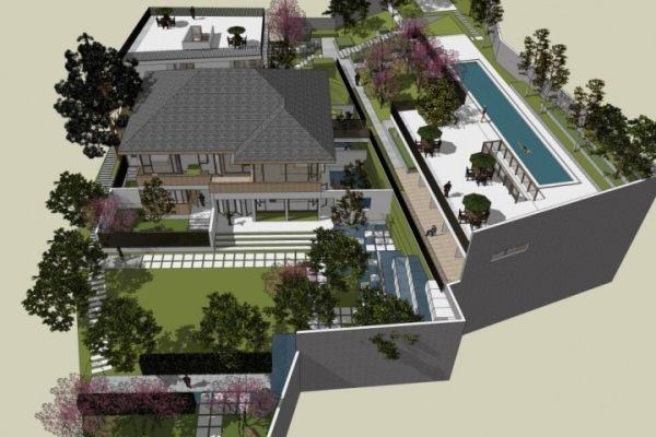 占地27x27二层带庭院自建别墅设计全套施工图
