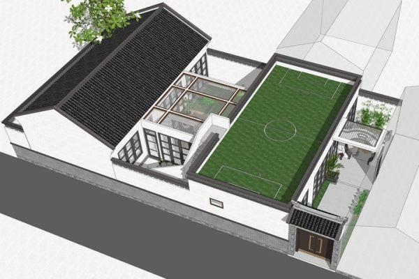 占地13x19一层自建带球场别墅设计全套施工图