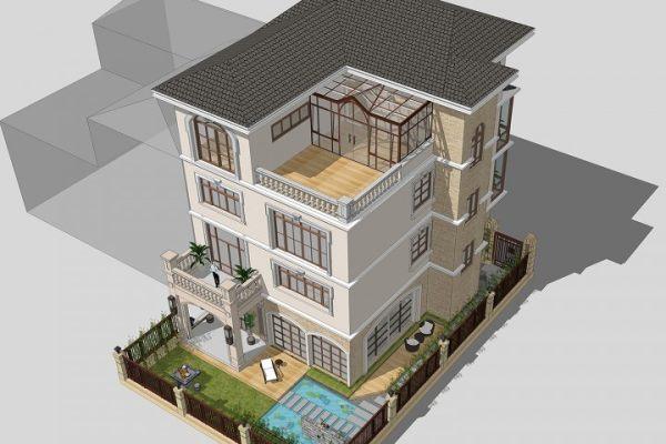 占地12x19四层带庭院露台自建别墅设计全套施工图