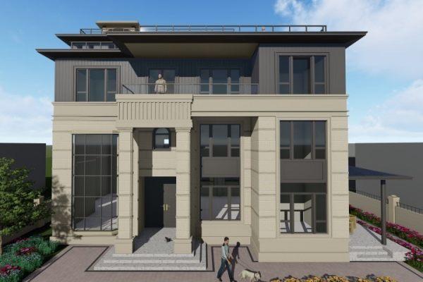 占地12x20三层带天台自建别墅设计全套施工图
