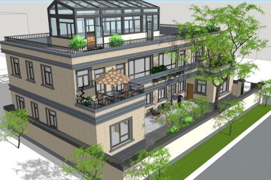 占地22x13三層天臺帶陽光房自建別墅設計全套施工圖