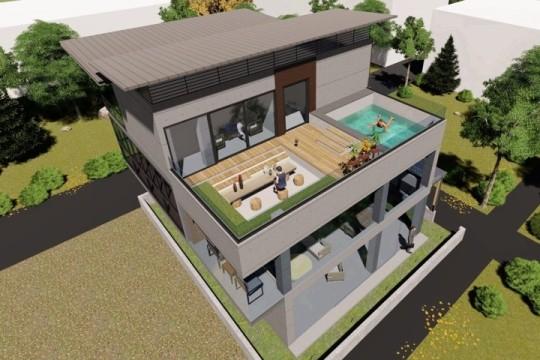 占地10x13三層帶露臺泳池自建別墅設計全套施工圖