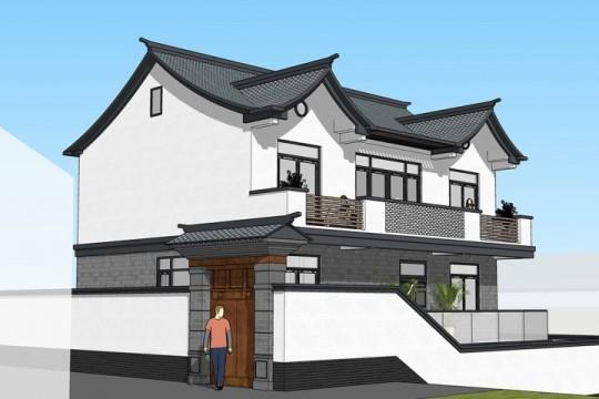 占地12x9二層帶庭院自建別墅設計全套施工圖