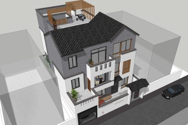 占地11x18三层带车库露台自建别墅设计全套施工图