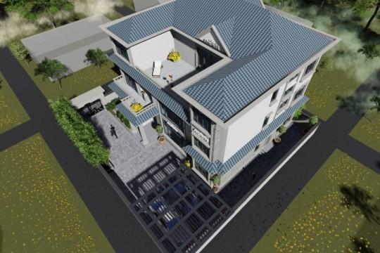 占地17x15三层带露台自建别墅设计全套施工图