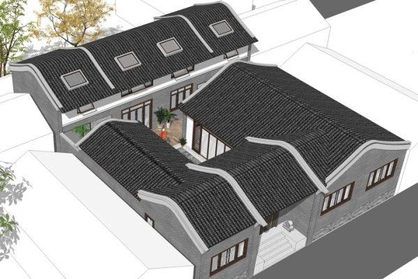 占地17x21一层带阁楼自建别墅设计全套施工图