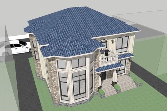 占地11x13二層帶露臺自建別墅設計全套施工圖