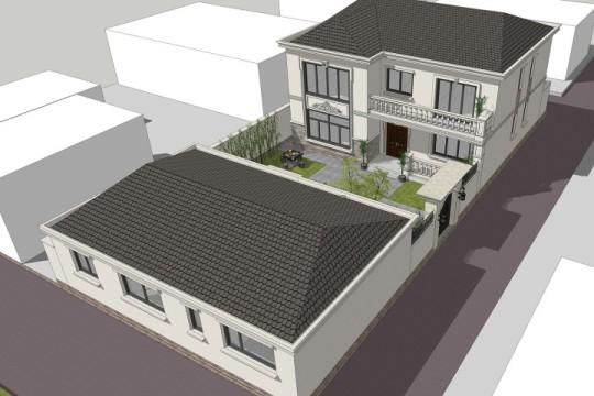 占地13x12二层带庭院自建别墅设计全套施工图,造价60W