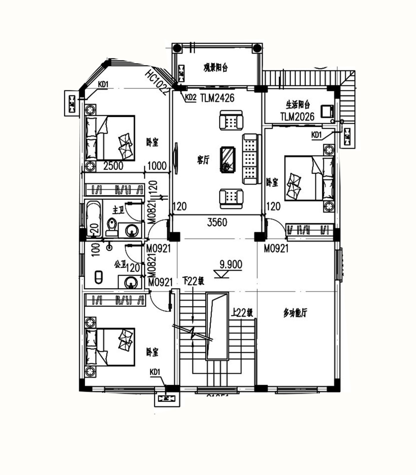 歐式五層別墅設計圖平面圖