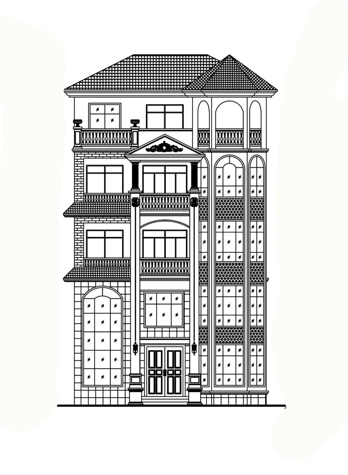 歐式五層別墅設計圖施工圖
