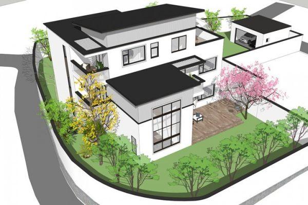 占地16x14三层带车库露台自建别墅设计全套施工图