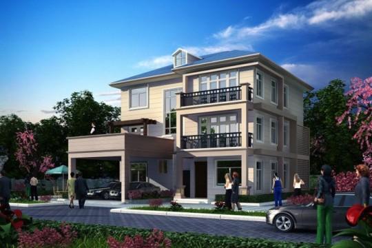 占地16x13三层带露台车库自建别墅设计全套施工图