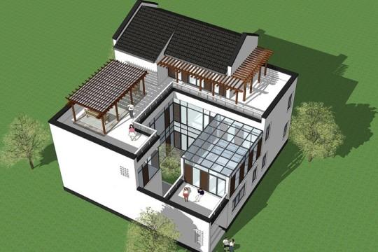 占地15x14二层带露台自建别墅设计全套施工图